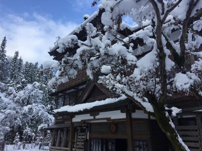 恒例の鰤鴨の後 雪景色の嵐渓荘