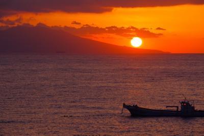 露天風呂から日の出を見る@東伊豆「望水」