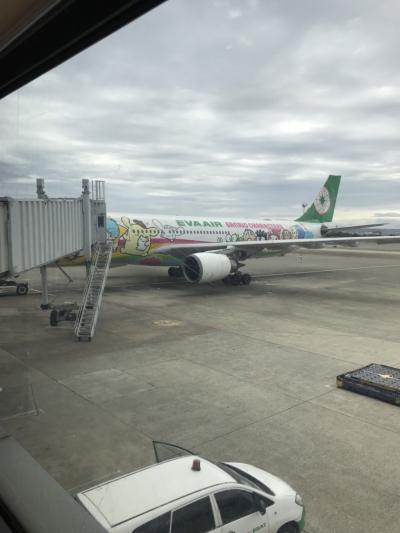 19'5月GW。初個人手配で行く2歳子連れ台湾旅行記①と⑤。。。楽しみにしていたエバー航空・サンリオジェット飛行機・空港編^^