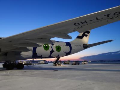 ヘルシンキからエアバスA330-300に乗りました。AY-79 HEL-NGO便です。