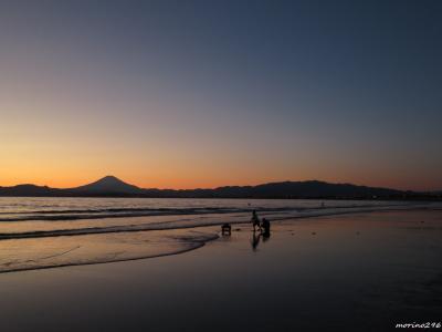 富士山とサンセットショーを楽しむ@江の島