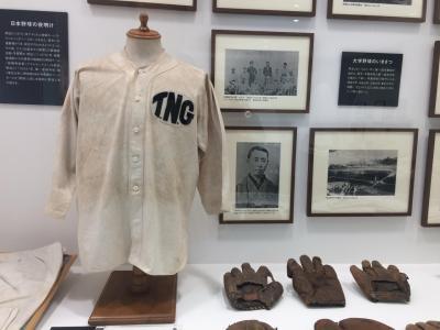 船橋アリーナの吉澤野球博物館資料展示室に大河ドラマ「いだてん~東京オリムピック噺~」に登場する天狗倶楽部のユニフォームを見に行く