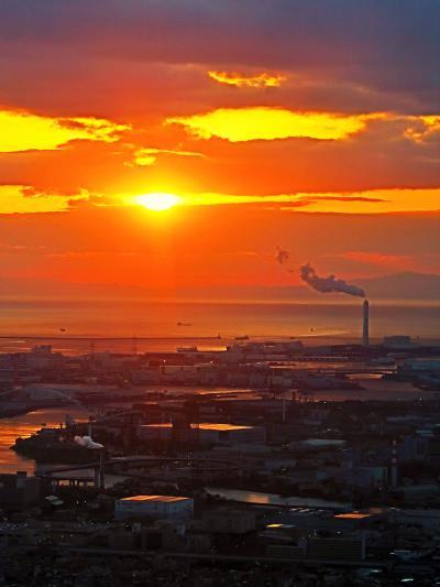 大阪-6 夕日-大阪湾を染めて ハルカス300の夕暮れ ☆時の流れ-地上300mで感じて