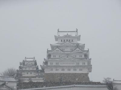 姫路・岡山の旅(3)雪の姫路城はとってもレアらしい。ラッキーってことかな?TVクルーも来てたし