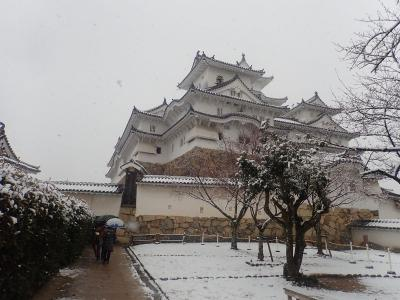 姫路・岡山の旅(4)雪の姫路城大天守6階へ急な階段を登って