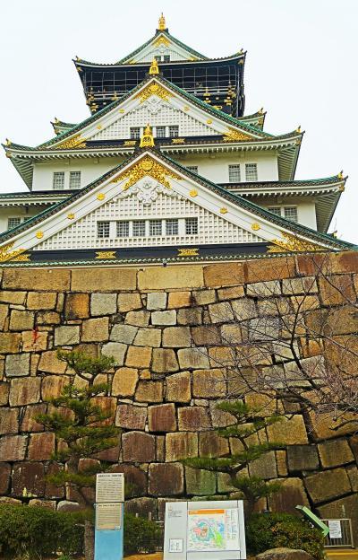大阪28 大阪城公園c 桜門から大阪城跡へ ☆桜門枡形の巨石・金/銀明水の井戸遺構も