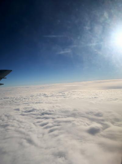 JAL124便-37K 東京/羽田行 セントレア上空-雲海-航行 ☆下界は雨/横に太陽も