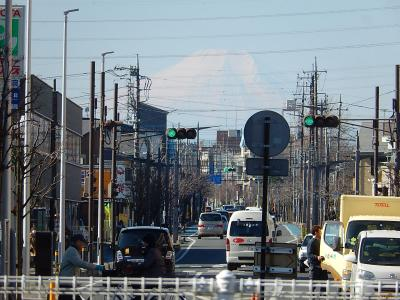 上福岡駅から見られた富士山