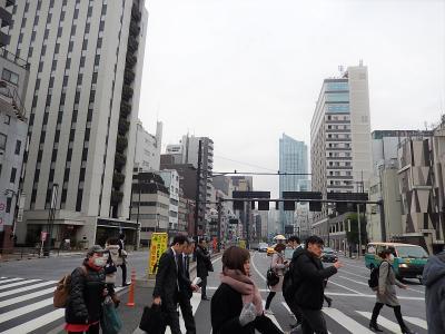 東新橋一丁目交差点付近の風景