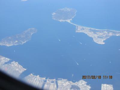 江南周遊(8)空中散歩、博多湾上空。