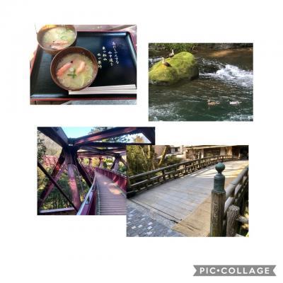 山中温泉チェックアウト前に食べ過ぎ解消de周辺散策!あやとり橋&こおろぎ橋&山中座