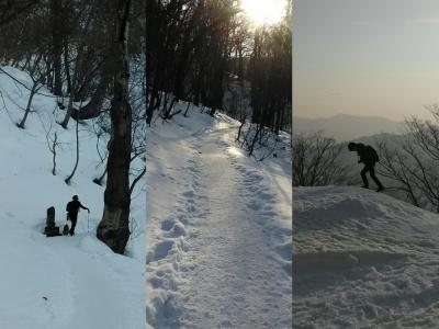 山の頂からは札幌の街並み☆銀世界の藻岩山を登山道で! 青春18きっぷでゆく 冬の北海道 2泊3日のひとり旅・1日目②