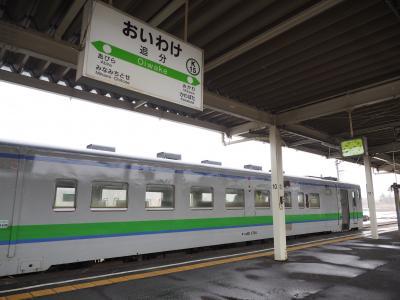 2019.03 鉄路で目指せ北海道!(7)南千歳から石勝線の普通列車。雪の舞う追分駅へ!