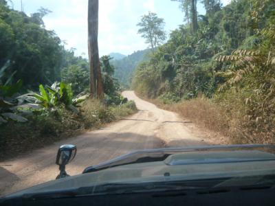 ミャンマーとタイとの国境となっている山岳地帯の道路を、車で走りました。
