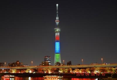 2019 隅田公園の桜と東京スカイツリーオリンピック500日前特別ライティング