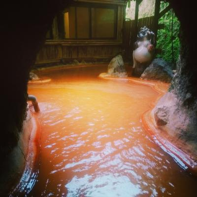 JALどこかにマイルで行く秘湯を守る会スタンプ7つ目@真っ赤なシュワシュワ炭酸泉を堪能!弓ヶ浜温泉 湯楽亭