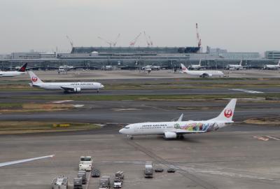 北陸8名城のさくら(1)・・旅の初めに羽田空港国内線ターミナルの散策です。