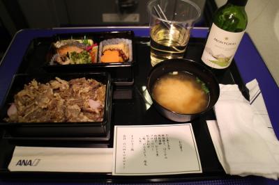 【搭乗メモ】NH416便、神戸→羽田、四月上旬プレミアムクラスの夕食。