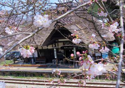 作例中 2019年4月湯野上温泉駅茅葺きの駅舎と桜のコラボが綺麗でした。