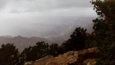 西部大自然 グランドキャニオンは霧の中