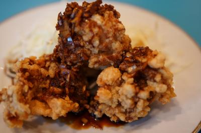 20190502-2 豊洲 やじ満さん、シュウマイ半個、油淋鶏ハーフ