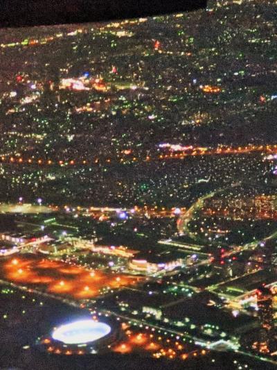 羽田空港 着陸夜景 JAL918便 42K席 ☆幕張メッセ-TDL-ゲートブリッジを確認