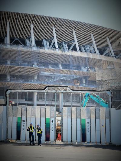 千駄ヶ谷-1 新国立競技場 建設急ピッチで進展中 ☆11月末竣工まで7か月余