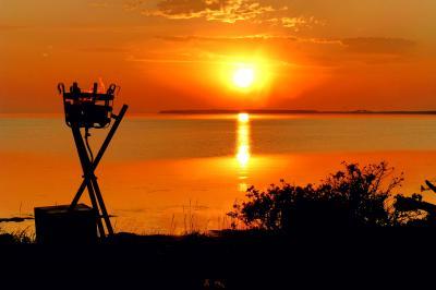 サロマ湖に沈む夕陽