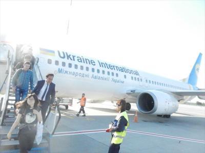 ソフィア行きはウクライナのキエフ航空で向かった