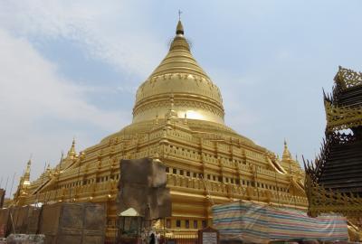 2019春、ミャンマー旅行記(7/25):5月25日(3):バガン(1):ニャウンウー空港、シュエズィーゴン・パゴダ