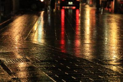京都の初夏 - 深緑と苔と夜景【1】夜の小雨交じりの八坂神社と花見小路、ピッカピカの御金神社