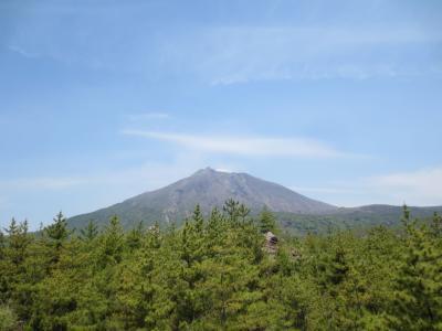青空の緑が美しい桜島と仙厳園