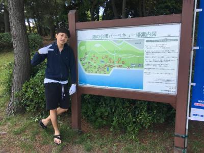 梅雨の中休みに海の公園でバーベキューしました。