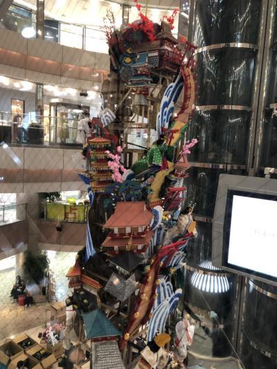 天神イムズは今年で開業三十周年、記念行事は博多山笠の飾り山笠展示です。