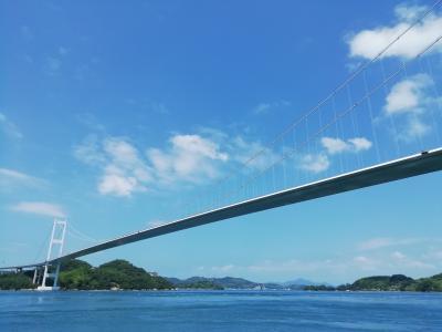 来島海峡大橋の上から見た瀬戸内の絶景♪馬島から見上げた来島海峡第三大橋♪桁下高65m♪ケーブル径636mm♪2019年7月しまなみ海道徘徊2