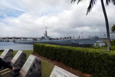 45.長男と行くハワイ3泊 車チャーター観光 パールハーバーヒストリックサイトその8 ボーフィン潜水艦  ダニエル・K・イノウエ国際空港