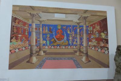 2019春、ウズベキスタン等の旅(25/52):4月25日(11):ペンジケント(11):ルダーキー博物館、壁画、焼物