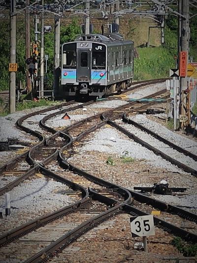信州令和52 姨捨駅⇒一本松踏切 スイッチバック線を体感 ☆特急列車は本線を通過し