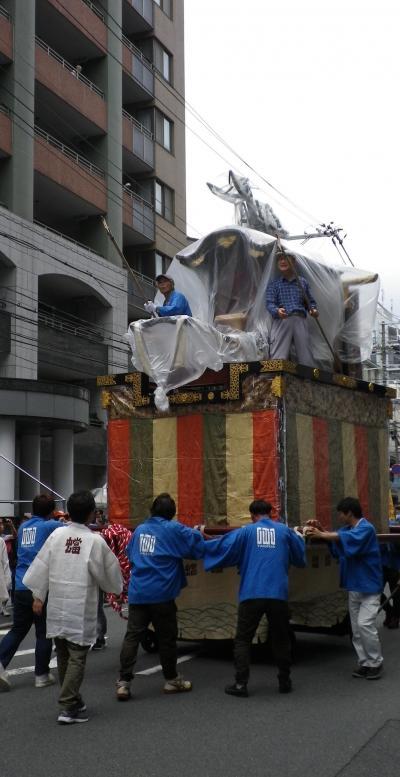 京都祇園祭 鉾建て始まり 昨年に続き蟷螂山曳き初め体験