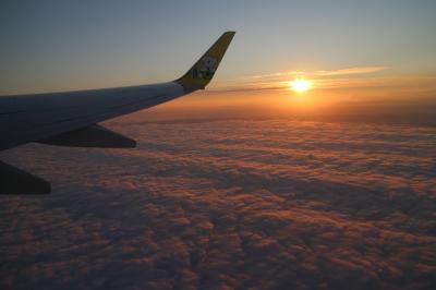 釧路→羽田、AIR DOで帰路に。機窓からサンセットを眺めながら。