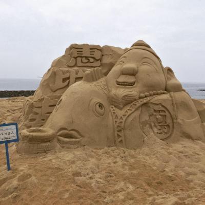 天草街道(国道324号線)四郎ヶ浜砂像。