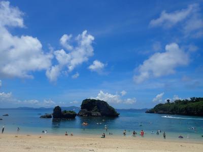 夏!!沖縄 宮城島・果報パンタ、トハナビーチ。伊計島・伊計ビーチで泳ぎました。