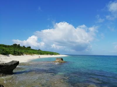 黒島西の浜に2600km離れた岩手釜石魚市場の大きなプラスチック容器が漂着していた!!『かめ岩』の背中2019年7月八重山・黒島8泊9日27