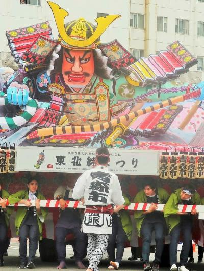 東北絆まつり/福島12 青森ねぶた祭b 大型ねぶた運行 ☆八幡太郎義家-テーマに