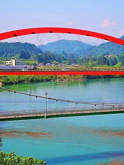 柳津-1 赤べこ発祥の地 巌上に建つ 圓蔵寺 ☆只見川-清らか/橋の色-冴えて