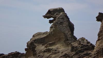 往復飛行機で行く東北二大祭り(14) ゴジラ岩と入道岬の観光。