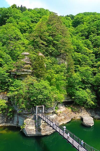 南会津-5 塔のへつり 河食地形の特異例/奇観 ☆展望台~吊橋~岩穴へ
