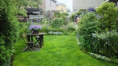 恵庭の庭を散歩する