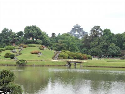 岡山観光。岡山後楽園、岡山城へ。碧水園でランチ。
