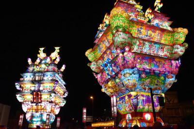 能代七夕「天空の不夜城」~高さ日本一の城郭型燈籠、風の松原、旧料亭金勇 2019~(秋田)
